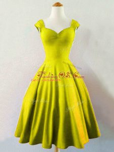 Knee Length Olive Green Wedding Guest Dresses Straps Sleeveless Lace Up