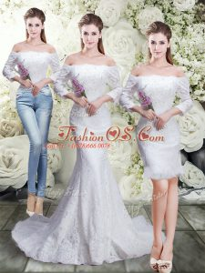 Best Selling White 3 4 Length Sleeve Lace Brush Train Lace Up Wedding Gown for Wedding Party
