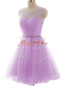 Mini Length Lavender Prom Gown Scoop Sleeveless Lace Up