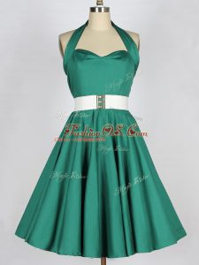 Luxury Knee Length Dark Green Bridesmaids Dress Taffeta Sleeveless Belt