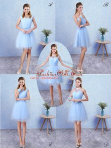 Smart Blue Lace Up Scoop Ruching Bridesmaid Gown Tulle Sleeveless