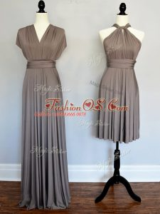 Traditional Grey Halter Top Neckline Ruching Wedding Party Dress Sleeveless Lace Up