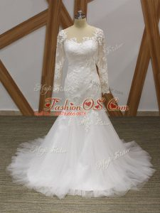 High Class Lace and Appliques Wedding Dress White Zipper Sleeveless Brush Train