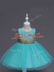 Aqua Blue Tulle Zipper Scoop Sleeveless Knee Length Kids Formal Wear Lace and Bowknot