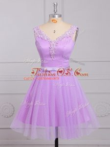 Lilac A-line Appliques and Belt Bridesmaid Dresses Lace Up Lace Sleeveless Mini Length