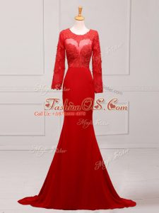 Red Long Sleeves Chiffon Brush Train Zipper Mother Of The Bride Dress for Prom and Military Ball and Sweet 16