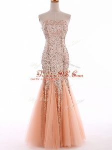 Trendy Sweetheart Sleeveless Lace Up Celebrity Dress Peach Tulle