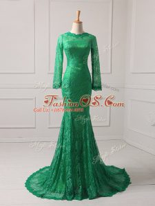 Fantastic Green Mother Of The Bride Dress Scoop Long Sleeves Brush Train Zipper