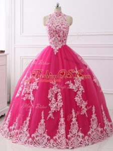 Dynamic High-neck Sleeveless Zipper Ball Gown Prom Dress Hot Pink Tulle
