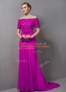Cute Fuchsia Mother Of The Bride Dress Chiffon Sweep Train Short Sleeves Lace