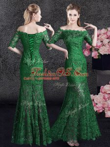 Popular Mermaid Off the Shoulder Lace Mother Of The Bride Dress Green Lace Up Half Sleeves Floor Length