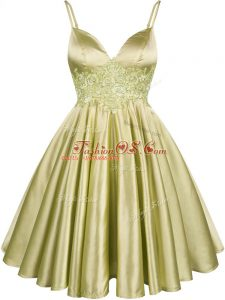 Fitting Knee Length Lace Up Wedding Guest Dresses Olive Green for Prom and Party and Wedding Party with Lace