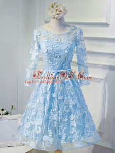 Long Sleeves Organza Mini Length Lace Up Casual Dresses in Light Blue with Beading and Appliques