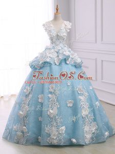 Custom Made Light Blue Ball Gowns Appliques Quinceanera Dress Lace Up Organza Sleeveless