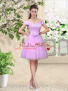 Stunning Lilac Wedding Party Dress Prom and Party with Lace and Belt V-neck Cap Sleeves Lace Up