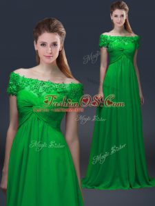 Green Chiffon Lace Up Off The Shoulder Short Sleeves Floor Length Mother Of The Bride Dress Appliques