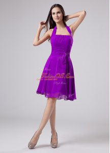 Colorful Chiffon Sleeveless Knee Length Mother Of The Bride Dress and Ruching