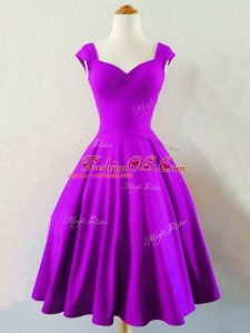 Cheap Sleeveless Knee Length Ruching Lace Up Bridesmaids Dress with Eggplant Purple