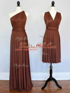 On Sale Brown One Shoulder Neckline Ruching Bridesmaid Dress Sleeveless Lace Up