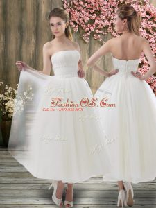 Off The Shoulder Sleeveless Wedding Gowns Ankle Length Ruching White Organza
