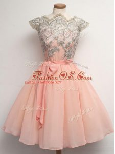 Amazing Peach Chiffon Zipper Scalloped Cap Sleeves Knee Length Bridesmaid Gown Lace and Belt