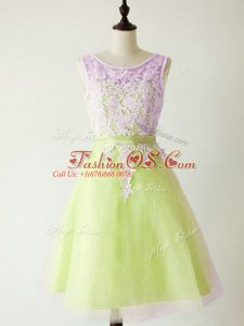 Lovely Knee Length Lace Up Bridesmaid Dresses Yellow Green for Prom and Party and Wedding Party with Lace