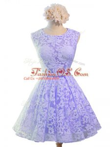 Modest Lavender Sleeveless Knee Length Belt Lace Up Dama Dress for Quinceanera