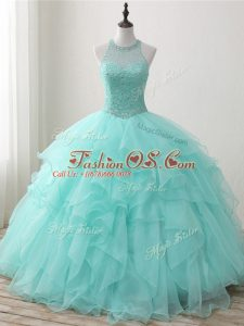 Organza Scoop Sleeveless Lace Up Beading and Ruffles Sweet 16 Dresses in Apple Green