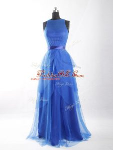 Blue Empire Scoop Sleeveless Tulle Floor Length Zipper Beading and Ruffled Layers and Belt Prom Gown