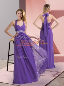 Fantastic Purple Side Zipper Halter Top Beading and Ruching Dress for Prom Chiffon Sleeveless