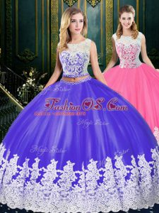 Blue And White Ball Gowns Tulle Scoop Sleeveless Appliques and Embroidery Floor Length Clasp Handle Quince Ball Gowns