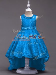 Scoop Sleeveless Kids Formal Wear High Low Beading Blue Lace