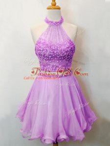 Wonderful Lilac Sleeveless Beading Knee Length Bridesmaid Dresses