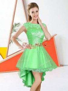 Knee Length Backless Wedding Party Dress for Prom and Party with Beading and Lace