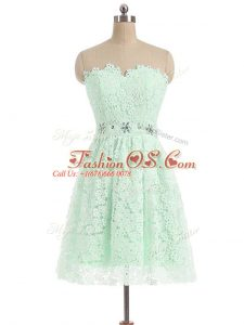 Apple Green Prom Dresses Prom and Party and Sweet 16 with Beading and Lace Sweetheart Sleeveless Zipper
