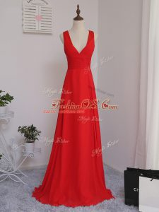 Discount Chiffon Sleeveless Floor Length Quinceanera Dama Dress and Ruching
