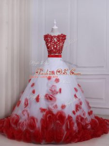 Best Selling White And Red Tulle Zipper Wedding Gowns Sleeveless Brush Train Appliques