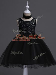 Trendy Black Little Girl Pageant Dress Wedding Party with Beading and Lace Scoop Sleeveless Zipper