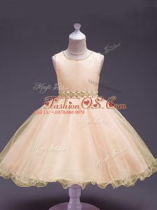 Superior Peach Sleeveless Knee Length Beading Zipper Girls Pageant Dresses