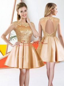 Exceptional Bateau Sleeveless Backless Wedding Guest Dresses Champagne Taffeta