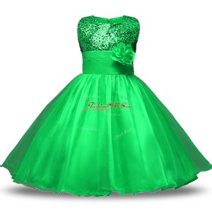 Custom Fit Green Scoop Neckline Belt and Hand Made Flower Toddler Flower Girl Dress Sleeveless Zipper
