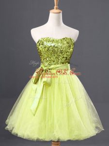 Suitable Yellow Green Tulle Zipper Prom Gown Sleeveless Mini Length Sequins