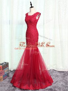 Enchanting Red Tulle Zipper Scoop Sleeveless Floor Length Mother Of The Bride Dress Lace and Appliques