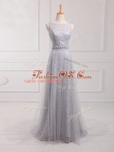 Grey Bridesmaid Gown Prom and Party and Wedding Party with Beading and Lace Scoop Sleeveless Brush Train Zipper