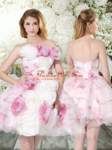 Multi-color Organza Zipper Bridal Gown Sleeveless Mini Length Hand Made Flower