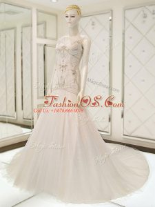 Beautiful Court Train Mermaid Wedding Gown White V-neck Tulle Sleeveless Side Zipper