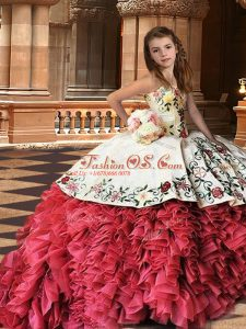 Hot Selling White And Red Strapless Neckline Embroidery and Ruffles Little Girls Pageant Gowns Sleeveless Lace Up