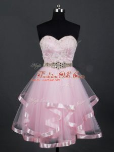 Excellent Sleeveless Zipper Mini Length Beading and Lace and Ruffles Quinceanera Court of Honor Dress