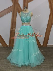 Exceptional Apple Green Prom Party Dress Prom and Party with Beading Scoop Sleeveless Side Zipper