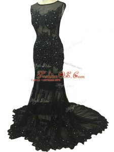 Black Sleeveless Brush Train Beading and Lace and Appliques Mother Of The Bride Dress